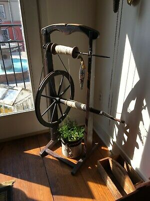 ANTIQUE c1800's PRIMITIVE SPINNING WHEEL BOBBIN YARN WINDER STAND UP HAND CRANK