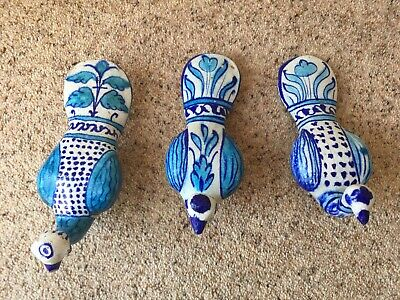 Three 19th Century Middle Eastern / Indian Hand Painted Ceramic Peacocks