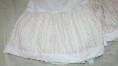 Kidsline baby girl crib bed skirt dust ruffle pink stripes floral green striped