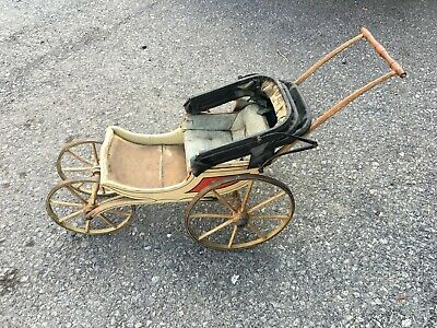 ANTIQUE 19th CENTURY VICTORIAN DOLL CARRIAGE BUGGY- WOOD WHEELS - ORIGINAL PAINT