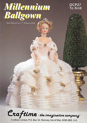 "Craftime Millennium Ballgown 17"" Princess Doll Outfit Knitting Pattern"
