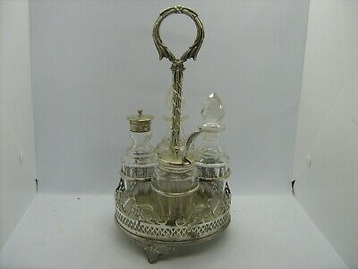 Vintage / antique glass crystal condiment set & silver plated stand