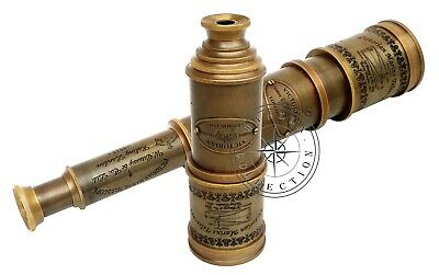 "Maritime Antique Brass Telescope 18"" Victorian Marine Handheld Nautical Spyglass"