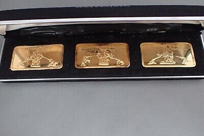 Vintage Watergate 1973 Aleo 24Kt E.g.p/.999 Fine Silver Ingot Art Bar Set In Cas