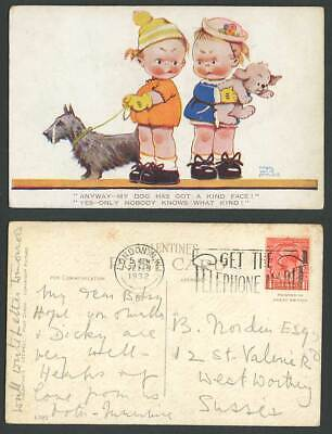 Scottish Terrier MABEL LUCIE ATTWELL 1932 Old Postcard MY DOG Has KIND FACE 1295