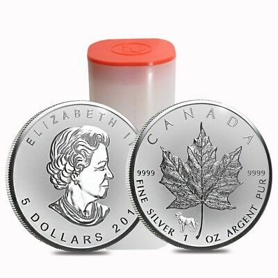 Roll of 25 - 2018 1 oz Silver Canadian Maple Leaf Lunar Dog Privy .9999 Fine $5