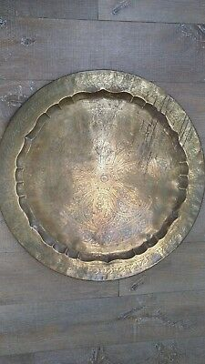 Antique Large Engraved Brass Islamic Serving Tray Platter Floral Pattern Ø72cm