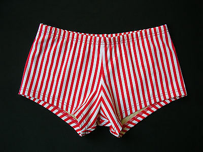 231d730a9f MENS Low Rise Square Cut Swimsuit in Red and White Candy Stripe in S-M-L-XL