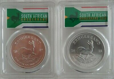 Lot of 2 2018+2019 South Africa 1 oz Silver Krugerrand MS-70 PCGS (FS)