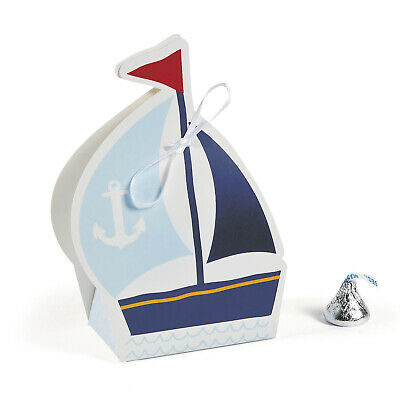 12 Nautical Boy Sail Boat Favor Boxes Treat Candy Baby Shower 1st Birthday Party