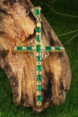 9.40tcw One Of A Kind Large Colombian Emerald Cross Pendant cross Gold 18K