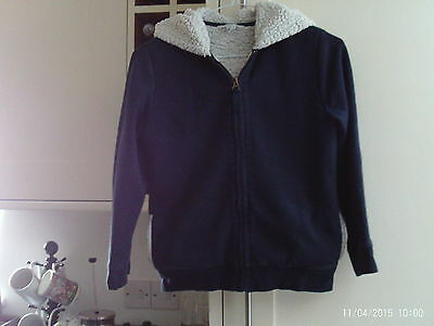 Boys navy blue hooded jacket - fleecy lined - age 7-8 years - Landsend Kids