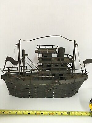"""Antique Large Pirates Ship Boat Model Metal Handmade From Tin Can 17"""" Folk Art"""