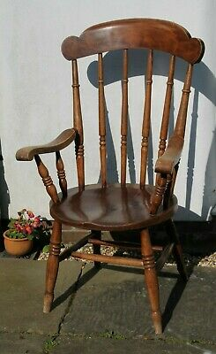 Windsor chair high-backed antique farmhouse grandfather carver solid Bucks HP10