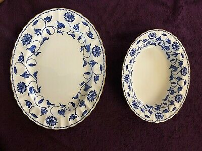Blue Spode Colonel  Platter and Serving Bowl England Bone China