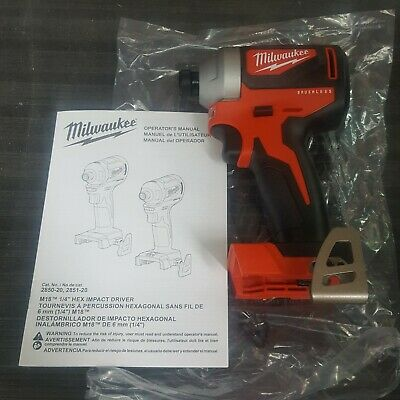 Milwaukee 2850-20 M18 Brushless 1/4 in. Hex Impact Driver (Tool Only) NEW!!