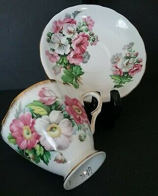 Vintage Windsor Fine Bone China Pink and White Floral English Teacup & Saucer