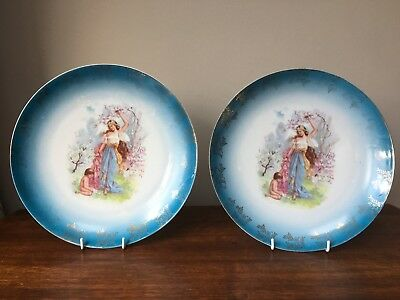 Pair of decorative vintage/antique wall plates - Spring classical design