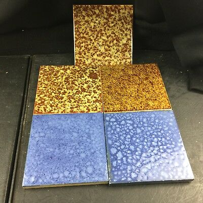 Vintage Tiles Set Bundle Of 5 H&R Johnson 3  Brown 2 Blue