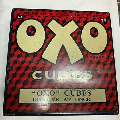 Antique Rare 1910 50 Oxo Cubes Tin With Cube Pattern Lid And Internal Lid Art