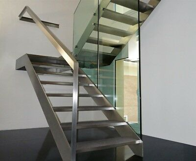 Internal Indoor Staircase Stainless Black Steel Glass Posts Wooden Steps Modern