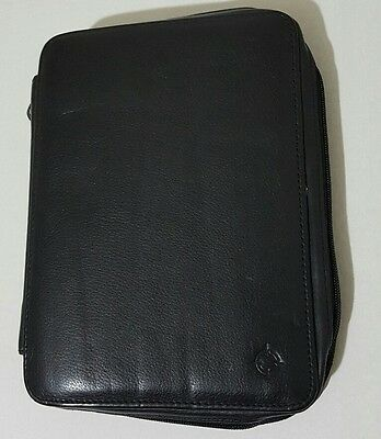 "Franklin Covey Black NAPPA Leather ZIPPER Planner Organizer Vtg 10"" x 8"""
