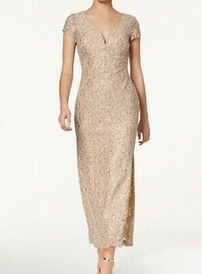 8636752eaba Connected Apparel NEW Beige Womens Size 6P Petite Sequin Lace Gown Dress   99 243