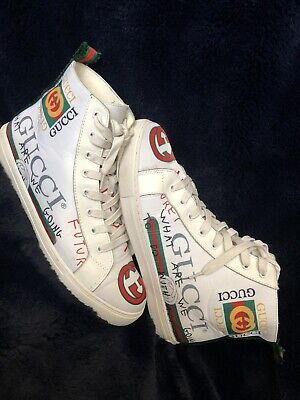 GUCCI HIGH TOP White Graphite Sneakers Men\u0027s Shoes US11