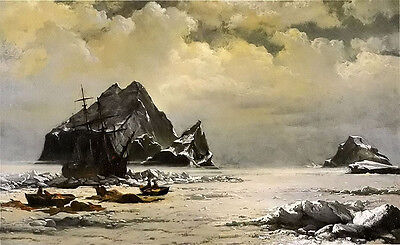Oil painting william Bradford - morning on the artic ice fields free shipping @