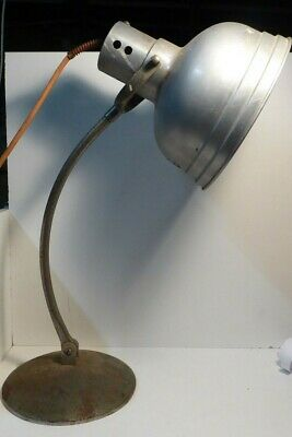 Fantastic Vintage Industrial Table Desk Lamp  Work Light - Steel Base -Aluminium