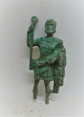Scarce Ancient Roman Bronze Statuette God Holding Staff Needs Research