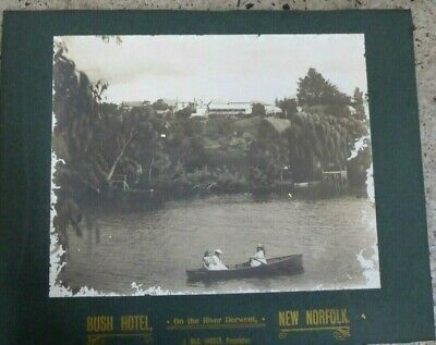 Antique Australian Black White Photograph Bush Hotel Derwent River New Norfolk