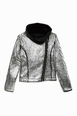 2b1f58a70 Bebe Girls NEW Silver Size Large L Front Zip Faxu Fur Lined Jacket $69 398