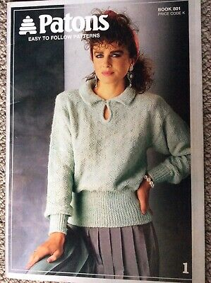 Vintage Patons Knitting Pattern Book 801 Easy to Follow Patterns in 8 Ply Yarns