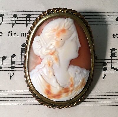 Antique Italian Carved Shell Cameo Roman Woman c1900