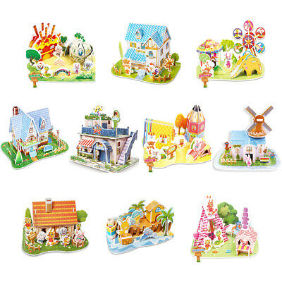 Gift 3D DIY Puzzle Castle Model Cartoon Animals House Assembling Paper Toys Xmas