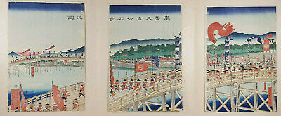 Japanese Warriers  -  Utagawa Woodblock -  3 Hand-colored & Signed Rice Papers