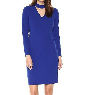 c5e03dd0 Calvin Klein NEW Blue Womens Size 4 Choker Long Sleeve Sheath Dress $134-  438