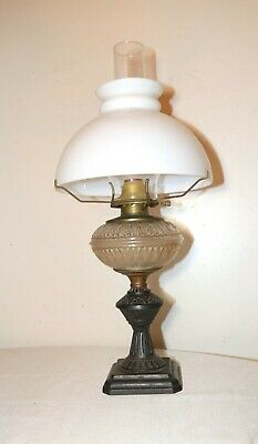 antique ornate Eastlake cast iron frosted glass electrified oil parlor lamp