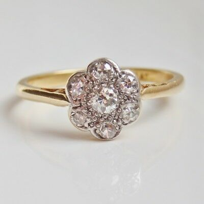 Stunning Antique Edwardian 18ct Gold Diamond Daisy Cluster Ring (0.25cts) c1910