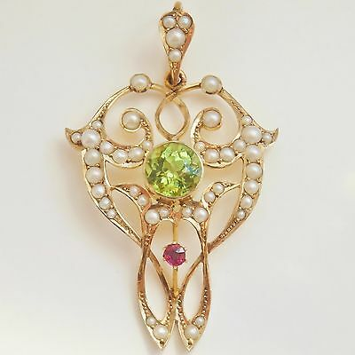 Fine Antique Edwardian Suffragette 9ct Gold Ruby Peridot & Pearl Pendant c1910