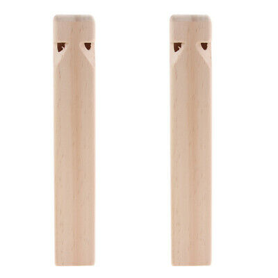 2Pcs Train Whistle Wood Engraved Wooden Train Flute Musical Teaching Toy