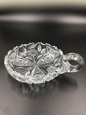 Antique Vintage ABP Brilliant Period Cut Glass Flower Handled Dish