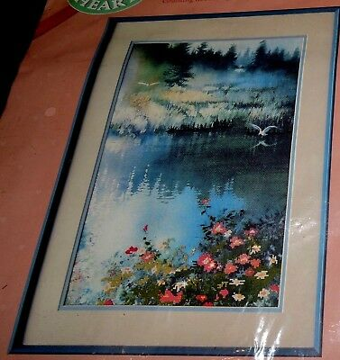 Dimensions CrossStitch Embroidery Kit Wild Rose Marsh Bird Misty Pond Blue Water