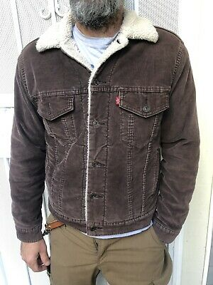 647e7c1a13 Mens Levi Levis sherpa lined dark brown corduroy Trucker Jacket S small