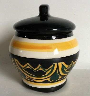 Vintage Art Pottery Mustard Jam Condiment Lidded Pot Black Yellow Signed 2000GC