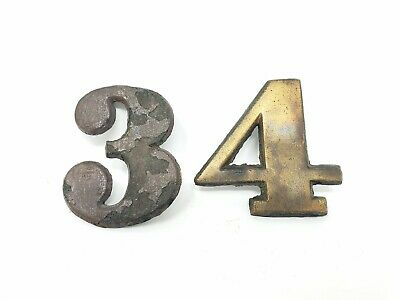 Antique House Front Door Room Number Plates 3 & 4 Vintage Cast Iron Brass Finish