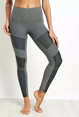618c9f6cf0aad NEW Alo Yoga High Waist Moto Legging Anthracite Heather Grey Size S Small