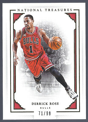 8799a9a83175 Derrick Rose 15-16 National Treasures  65 Memphis Tigers Chicago Bulls 71 99