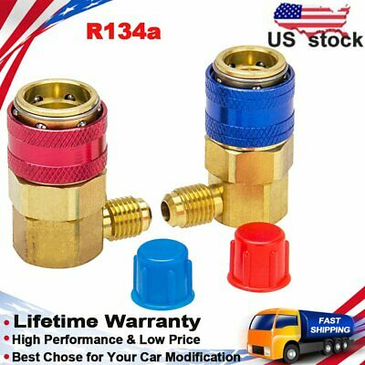 R134a Air Conditioning Adapter Fittings Quick Change Coupler Connector High Low